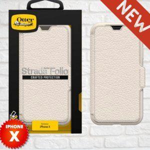 OtterBox iPhone X White LEATHER Folio NIB📱NEW